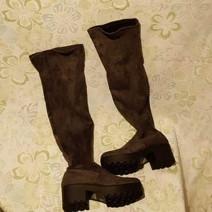 Thigh high Taupe Chunky Block boots